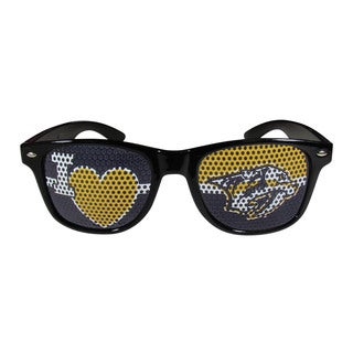 NHL Sports Team Logo Nashville Predators I Heart Game Day Black Polycarbonate Sunglasses