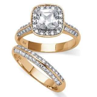PalmBeach 2.08 TCW Princess-Cut Cubic Zirconia Bridal Ring Two-Piece Set in 14k Gold over Sterling Silver Glam CZ