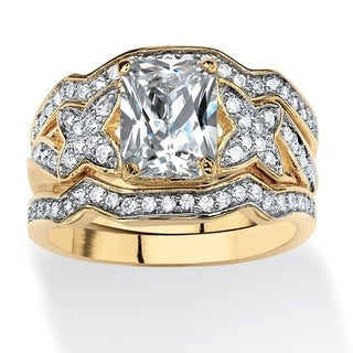 PalmBeach 2.97 TCW Emerald-Cut Cubic Zirconia 3-Piece Bridal Ring Set in 14k Gold over Sterling Silver Classic CZ