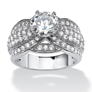 PalmBeach 3.12 TCW Round Cubic Zirconia Ring in Platinum over Sterling Silver Glam CZ