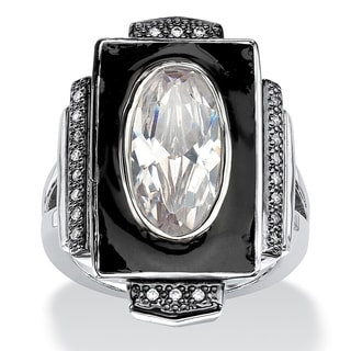 4.91 TCW Oval-Cut Cubic Zirconia Art-Deco Inspired Ring in Silvertone Color Fun