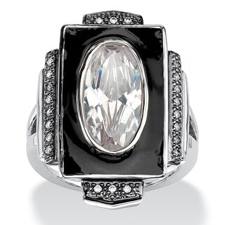 Silver Tone Enamel Cubic Zirconia Art Deco Style Ring - White
