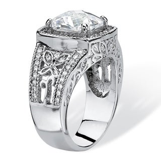 PalmBeach 3.27 TCW Cushion-Cut Cubic Zirconia Halo Ring with Butterfly and Cubic Zirconia Accents. Glam CZ