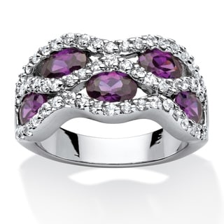 PalmBeach 3.36 TWC Purple Oval-Cut Cubic Zirconia Ribbon Weave Ring Rhodium-Plated Color Fun