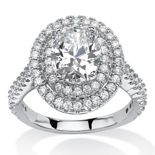 PalmBeach 2.64 TCW Oval-Cut Cubic Zirconia Double Halo Ring in Platinum Over Sterling Silver Glam CZ