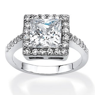 PalmBeach 2.87 TCW Princess-Cut Cubic Zirconia Halo Ring in Platinum Over .925 Sterling Silver Glam CZ