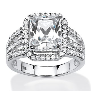 PalmBeach 4.38 TCW Emerald-Cut Cubic Zirconia Halo Ring in Platinum Over .925 Sterling Silver Glam CZ