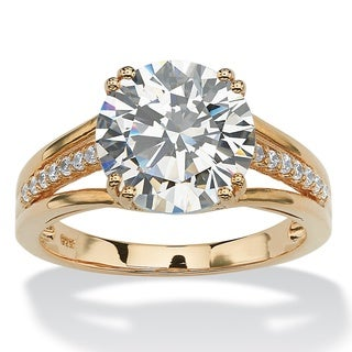 PalmBeach 4.11 TCW Round Cubic Zirconia Triple-Shank Engagement Ring in 18k Yellow Gold over Sterling Silver Glam CZ