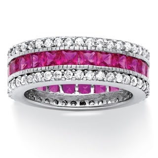 PalmBeach 10.83 TCW Princess-Cut Lab Created Ruby Eternity Ring in Platinum over Sterling Silver Glam CZ