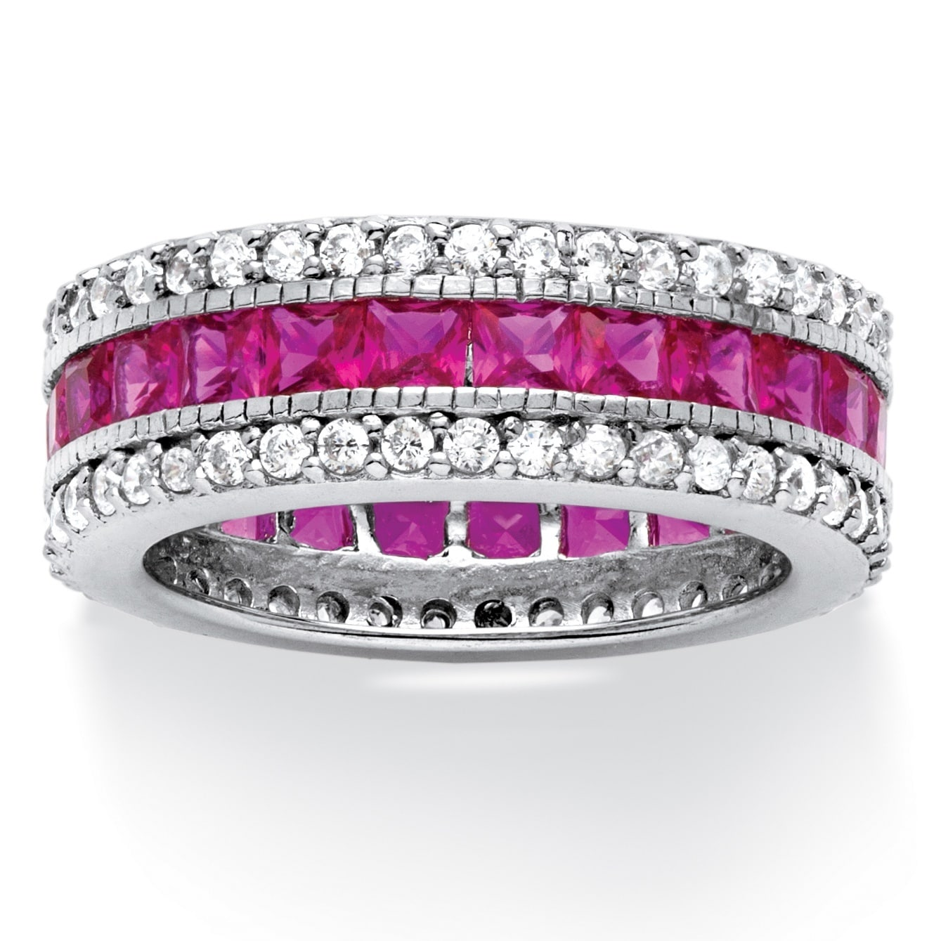 Palm Beach 10.83 TCW Princess-Cut Lab Created Ruby Eterni...