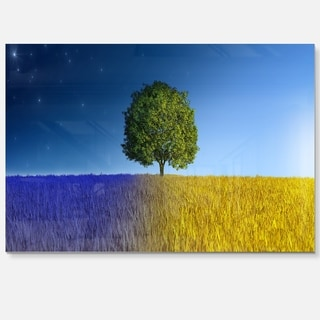 Tree in Night and Day - Landscape Art Glossy Metal Wall Art