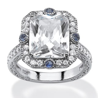 PalmBeach 7.71 TCW Emerald-Cut Cubic Zirconia and Blue Sapphire Accent Vintage-Inspired Halo Ring in Platinum Glam CZ