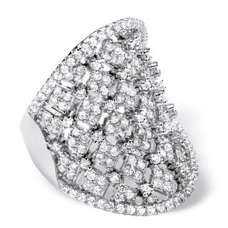 PalmBeach 2.84 TCW Micro-Pave Cubic Zirconia Concave Scoop Ring in .925 Sterling Silver Bold Fashion