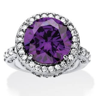 8.33 TCW Round Purple Cubic Zirconia Halo Cocktail Ring Platinum-Plated Color Fun
