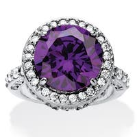 Platinum-plated Purple Cubic Zirconia Ring - White