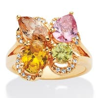 Yellow Gold-plated Multi-color Cubic Zirconia Ring - Pink/Champagne