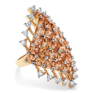 PalmBeach 8.58 TCW Princess-Cut Champagne Cluster Cocktail Ring 14k Yellow Gold-Plated Color Fun