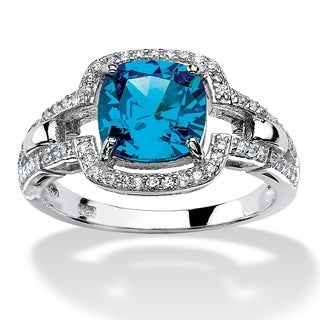 PalmBeach 1.97 TCW Cushion-Cut Blue Cubic Zirconia Halo Cocktail Ring in Platinum over Sterling Silver Color Fun