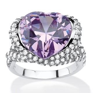 PalmBeach 23 1/10 TCW Heart-shaped Bezel-set Lavender and White Cubic Zirconia Halo Crossover Cocktail Ring