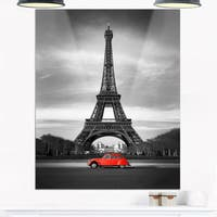 Eiffel and Old Red Car - Landscape Art Glossy Metal Wall Art