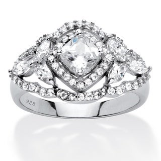 PalmBeach 1.69 TCW Princess-Cut Cubic Zirconia Vintage-Style Halo Ring in Platinum Over .925 Sterling Silver Classic CZ