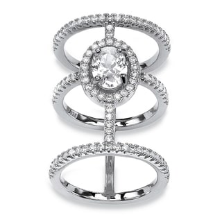PalmBeach 2 3/5 TCW Oval-cut and Micro-pave Cubic Zirconia Sterling Silver Triple-Band Halo Ring