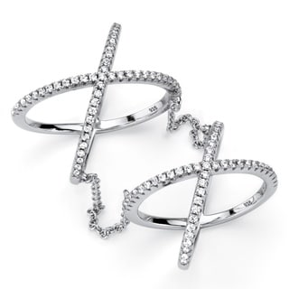 PalmBeach .88 TCW Micro-Pave Cubic Zirconia Sterling Silver Crisscross Knuckle Ring Bold Fashion