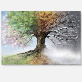 Tree with Four Seasons - Tree Painting Glossy Metal Wall Art