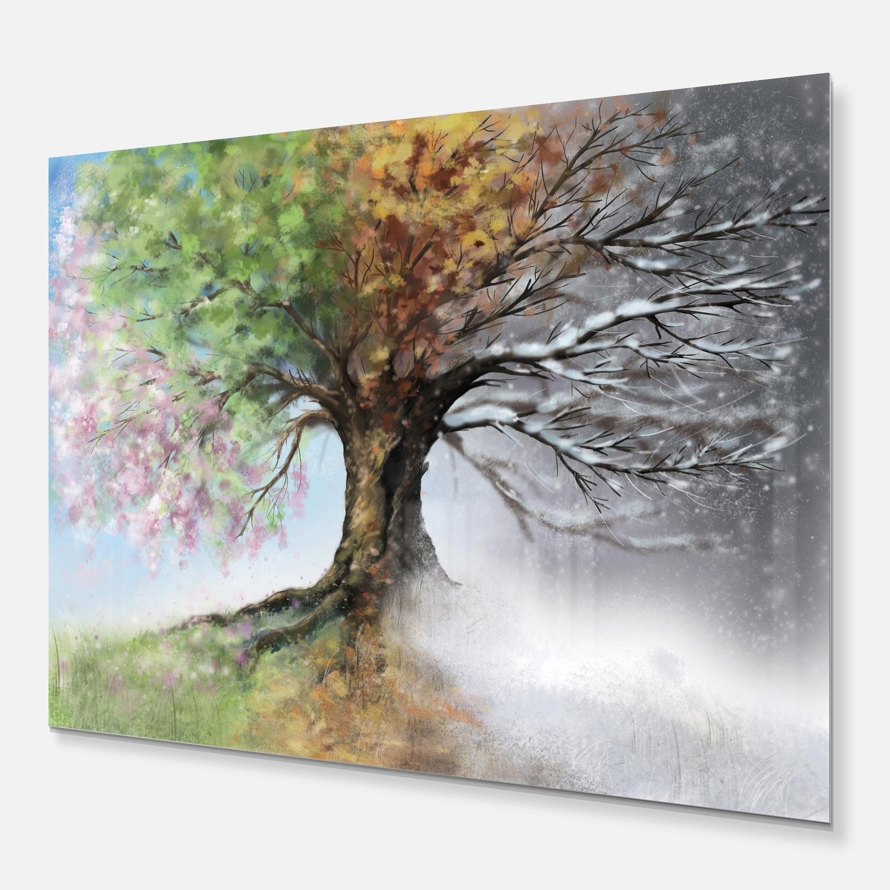 Tree With Four Seasons Tree Painting Glossy Metal Wall Art