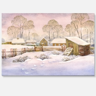 Old Winter Village - Landscape Watercolor Glossy Metal Wall Art
