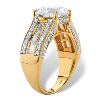 PalmBeach 5.11 TCW Round Cubic Zirconia Multi-Row Engagement Channel-Set Ring in 18k Gold over Sterling Silver Classic CZ