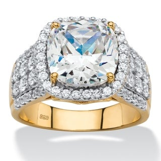 3.68 TCW Cushion-Cut and Pave Cubic Zirconia Halo Engagement Ring in 18k Gold over Sterlin