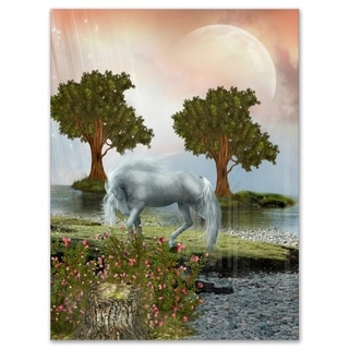 White Horse and Green Trees - Landscape Art Glossy Metal Wall Art