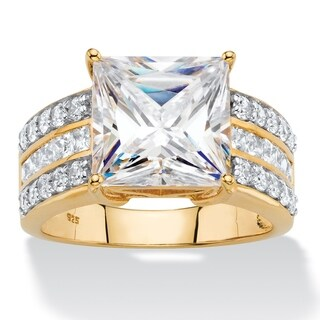 PalmBeach 4.21 TCW Princess-Cut Cubic Zirconia Multi-Row Bridal Engagement Ring in 18k Gold over Sterling Silv Classic CZ
