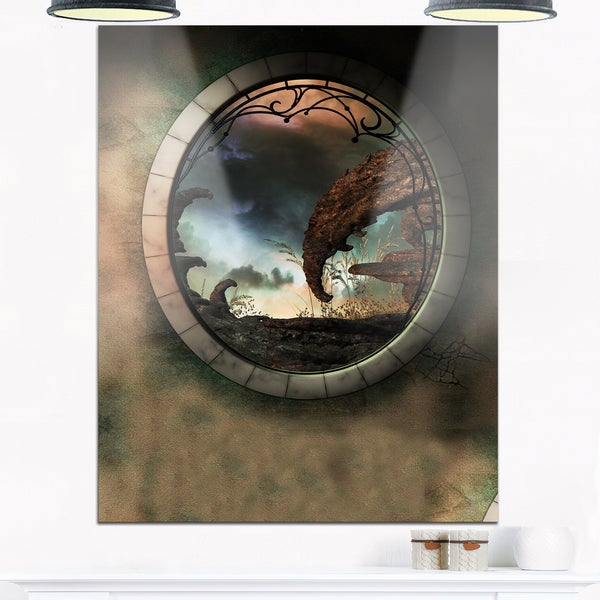 Blue Fantasy Landscape with Frame - Art Photo Glossy Metal Wall Art ...