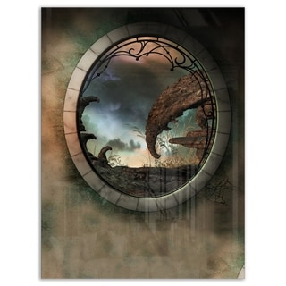 Blue Fantasy Landscape with Frame - Art Photo Glossy Metal Wall Art
