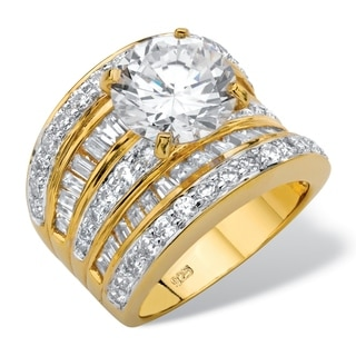 PalmBeach 7.14 TCW Round Cubic Zirconia Multi-Row Scoop Engagement Ring in 14k Gold over Sterling Silver Classic CZ