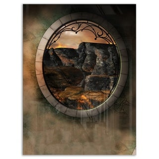 Brown Fantasy Landscape with Frame - Art Photo Glossy Metal Wall Art