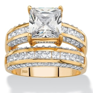 3.32 TCW Princess-Cut Cubic Zirconia 2-Piece Channel-Set Bridal Ring Set in 14k Gold over