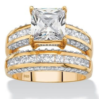 PalmBeach 3.32 TCW Princess-Cut Cubic Zirconia 2-Piece Channel-Set Bridal Ring Set in 14k Gold over Sterling S Classic CZ