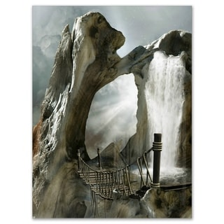 Large Trunk with Waterfall - Landscape Art Glossy Metal Wall Art