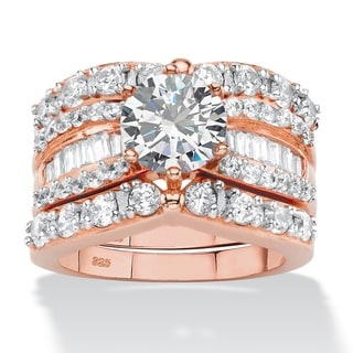 4.07 TCW Round and Baguette Cubic Zirconia 3-Piece Multi-Row Bridal Ring Set in Rose Gold-