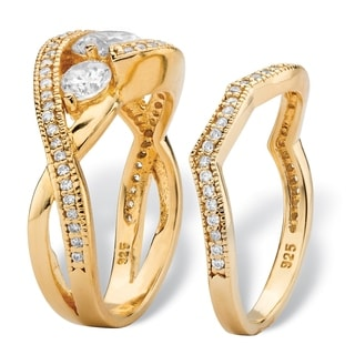 PalmBeach 1.90 TCW Round Cubic Zirconia 2-Piece Bypass Bridal Ring Set in 14k Gold over Sterling Silver Classic CZ