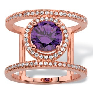 PalmBeach 2.48 TCW Round Simulated Purple Amethyst and Cubic Zirconia Rose Gold-Plated Halo Bar Cocktail Ring Color Fun