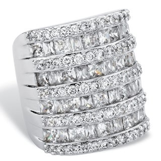 Silvertone Classic CZ 6.26 TCW Baguette-Cut and Round Cubic Zirconia Channel-Set Cocktail