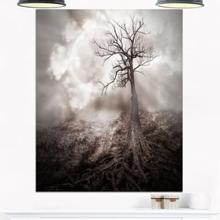 Lonely Tree Holding the Moon - Landscape Art Glossy Metal Wall Art