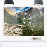 Sunset Over High Mountains - Landscape Glossy Metal Wall Art