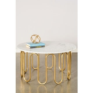 Willow Goldtone Steel and Marble Coffee Table