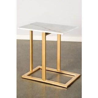 Hudson Marble/Steel White/Gold Side Table