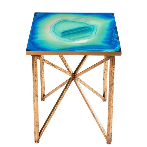 Shop Blue Agate Side Table Free Shipping Today